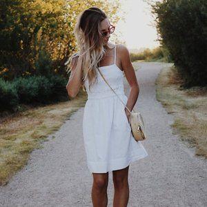 Aritzia Wilfred Sorrell XS Espace White Cotton Smocked Sundress Mini Dress